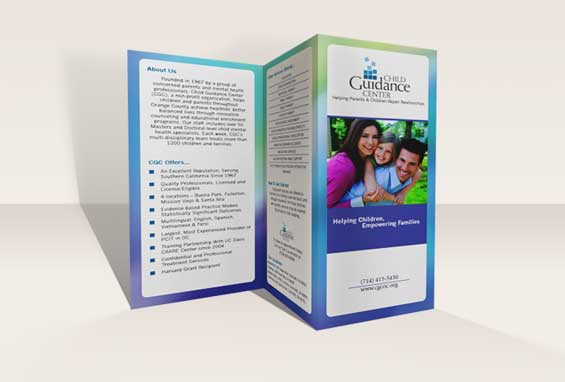 Rendering of Child Guidance Center tri-fold brochure