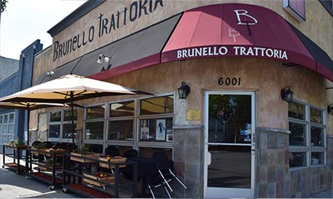 Home page pic of Brunello Trattoria's front view - photo by Chris Schiotis