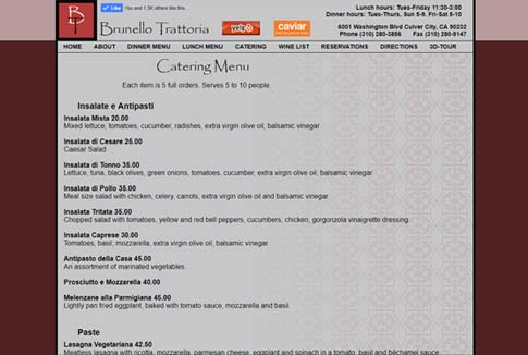 Screen shot of old Brunello menu page